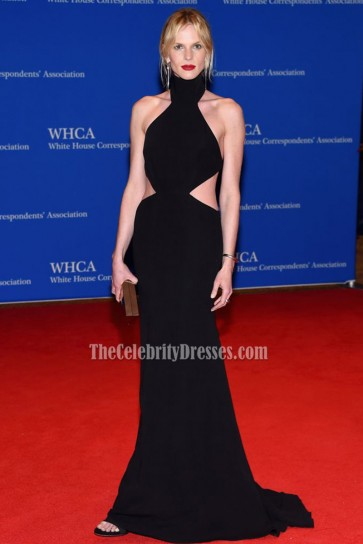 Anne V Black Scoop Backless Evening Prom Gown 2016 White House Correspondents' Association Dinner 1
