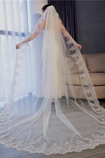 Applique Edge Cathedral Bridal Veils