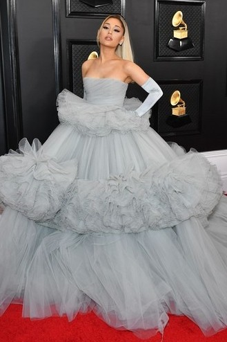 Ariana Grande Gray Strapless Ball Gown 2020 Grammys Red Carpet