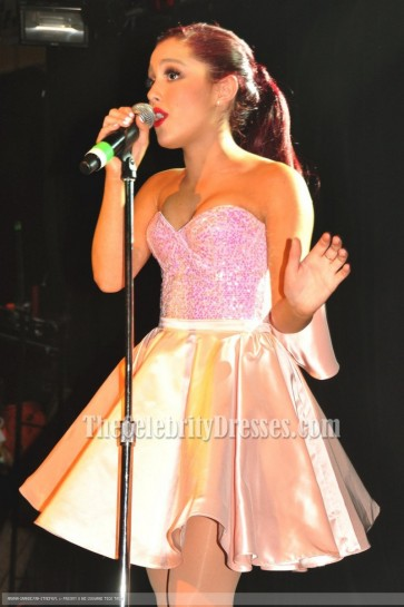 Ariana Grande Cute Pink Cocktail Dress Irving Plaza Performance