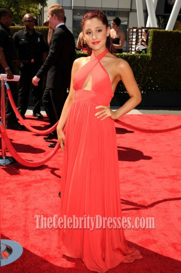 Ariana Grande Halter Prom Dress 2012 Creative Arts Emmy Awards Red Carpet