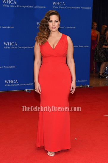 Ashley Graham Red Deep V Evening Prom Dress 2016 White House Correspondents' Association Dinner  1