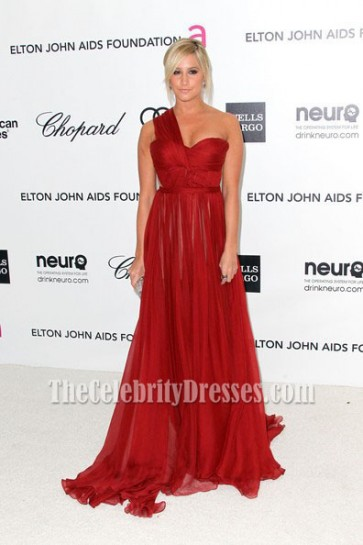Ashley Tisdale One Shoulder Evening Dress Oscar Awards 2012 Party
