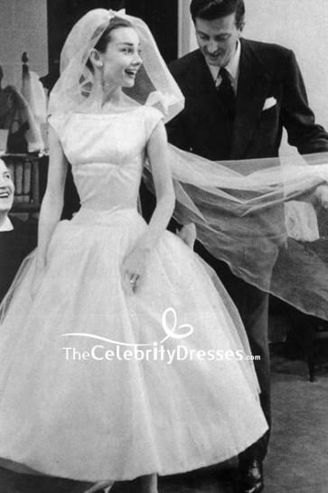 Audrey Hepburn White A Line Tea Length 1950s Wedding Dress