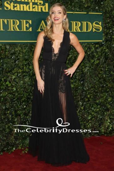 Annabelle Wallis Black Evening Gown London Evening Standard Theatre Awards Dress TCD7606