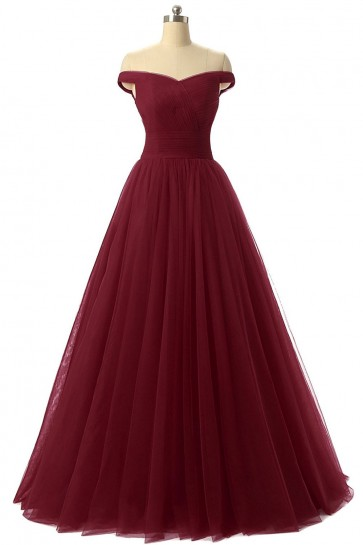 Discount Burgundy Off-the-Shoulder A-Line Formal Evening Prom Dresses