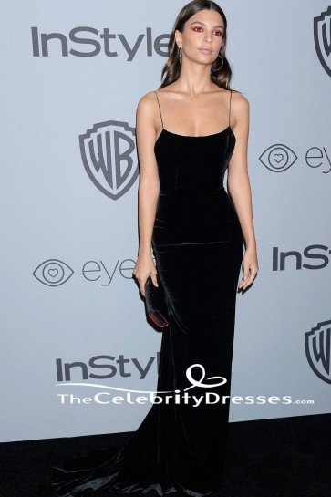 Emily Ratajkowski Spaghetti Straps Evening Dress HBO's Golden Globe Awards After-party TCD7667