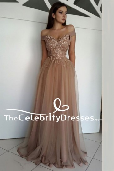 Floor Length Off Shoulder A-Line Beaded Formal Dress Evening Gown TCDFD7973