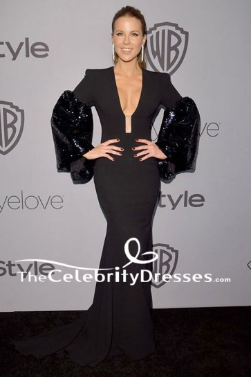 Kate Beckinsale Long Sleeves Evening Dress HBO's Golden Globe Awards After-party Gown TCD7669