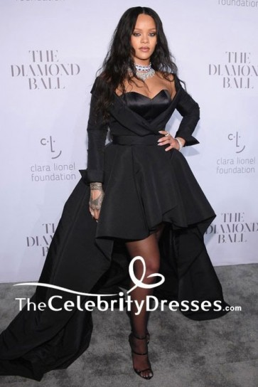 Rihanna Black Strapless High Low Ball Gown 3rd Annual Clara Lionel Foundation Diamond Ball TCD7638