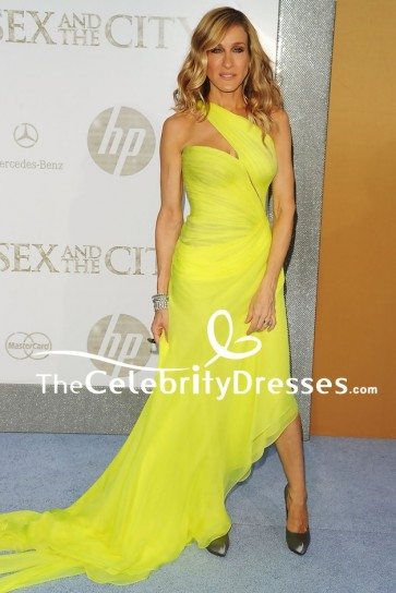 """Sarah Jessica Parker Yellow Evening Dress """"Sex And The City 2"""" Premiere TCD8302"""