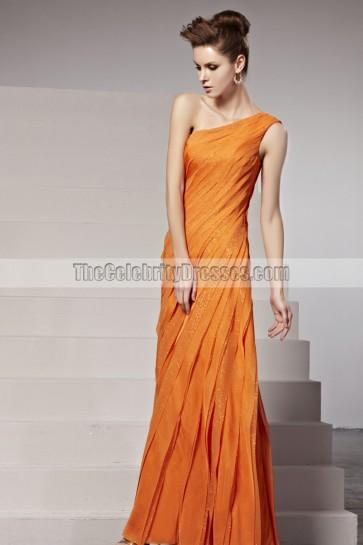 2014 New Orange One Shoulder Formal Dress Evening Gown
