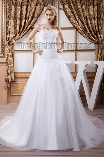 A-Line Beaded Chapel Train Wedding Dress Bridal Gow