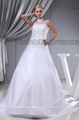 A-Line Beaded Spaghetti Straps Chapel Train Lace Up Wedding Dress
