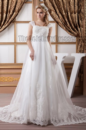 A-Line Cap Sleeve Embroidered Chapel Train Wedding Dresses