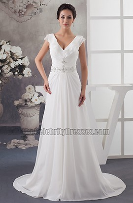 A-Line Cap Sleeve V-Neck Chapel Train Wedding Dresses