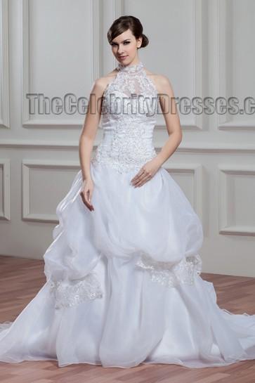 A-Line Chapel Train Halter Beaded Wedding Dresses