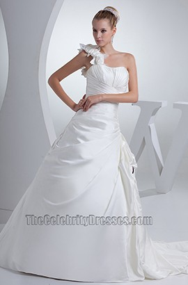 A-Line Chapel Train One Shoulder Taffeta Wedding Dresses