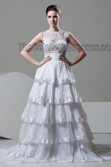 A-Line Chapel Train Sleeveless Wedding Dress With Beading