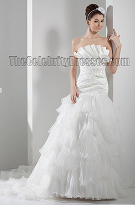 A-Line Chapel Train Strapless Ruffles Wedding Dresses