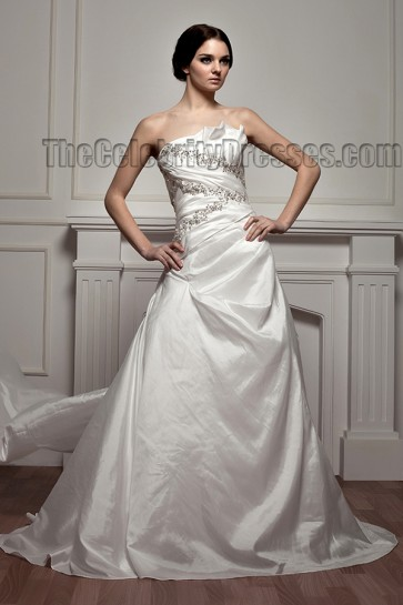 A-Line Chapel Train Strapless Sequined Wedding Dress