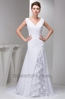 Elegant A-Line Chapel Train V-Neck Ruffles Wedding Dresses