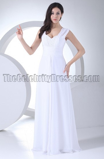 White Chiffon Bridesmaid Dresses Prom Evening Gown