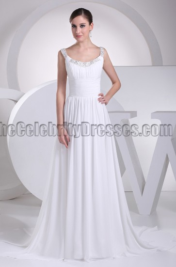 A-Line Chiffon Chapel Train Informal Wedding Dress