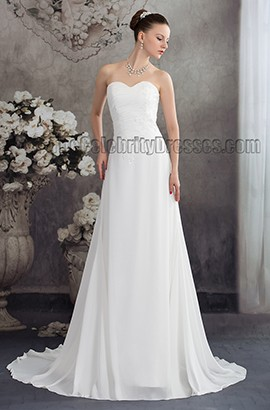 A-Line Chiffon Strapless Chapel Train Wedding Dress Bridal Gown