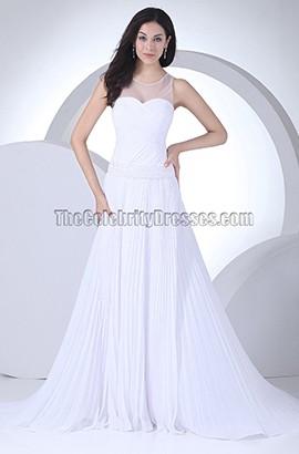 A-Line Chiffon Tulle Chapel Train Informal Wedding Dresses