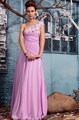 A-Line Floor Length Beaded Prom Gown Formal Evening Dresses