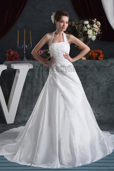 A-Line Halter Embroidered Chapel Train Wedding Dresses