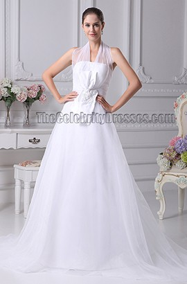 Elgant A-Line Halter Organza Chapel Train Wedding Dresses