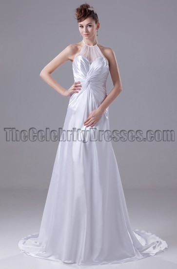 A-Line Halter Silk Like Satin Wedding Dresses