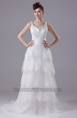 A-Line Lace Organza Chapel Train Wedding Dresses