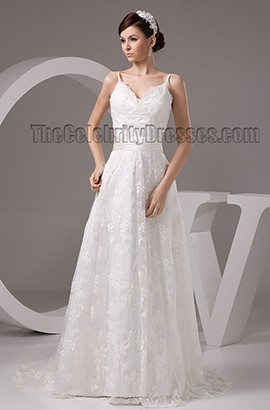 A-Line Lace Spaghetti Straps Sweep/ Brush Train Wedding Dresses