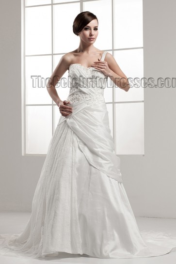 A-Line One Shoulder Chapel Train Wedding Dress Bridal Gown