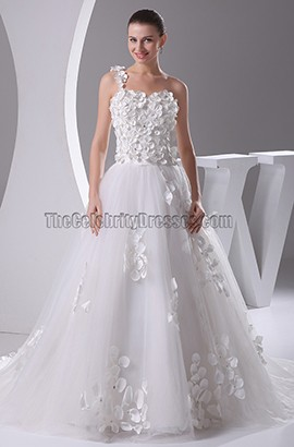 Floral Bodice A-Line One Shoulder Court Train Wedding Dresses