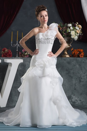 A-Line One Shoulder Organza Chapel Train Wedding Dress Bridal Gown