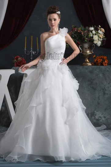 A-Line One Shoulder Organza Chapel Train Wedding Dresses