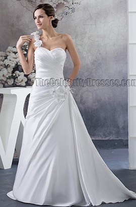 A-Line One Shoulder Sweetheart Sweep/Brush Train Wedding Dress