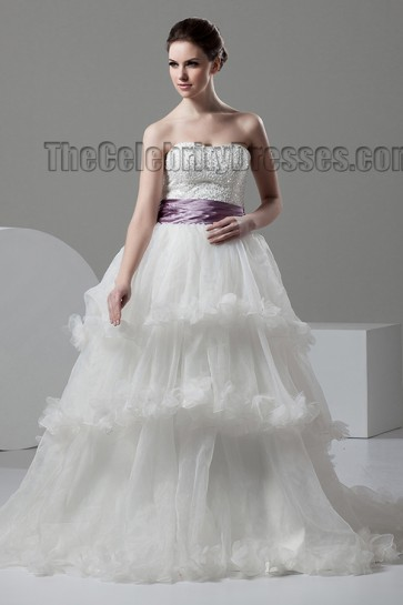 A-Line Ruffles Strapless Sweetheart Beaded Wedding Dress