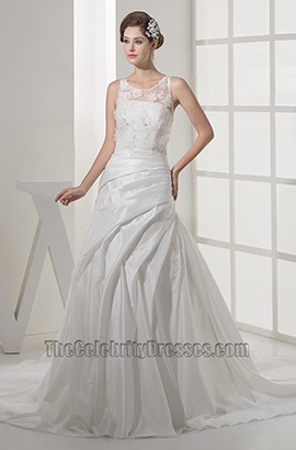 A-Line Scoop Neckline Lace Taffeta Wedding Dresses