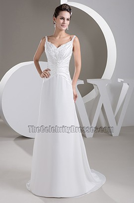 A-Line Silk Like Satin Sweep/Brush Train Embroidery Wedding Dresses