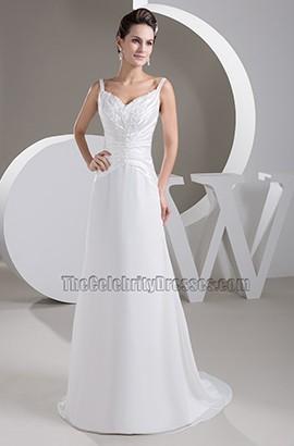 A-Line Silk Like Satin Sweep/Brush Train Embroidery Wedding Dresses