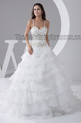 A-Line Spaghetti Straps Embroidered Chapel Train Wedding Dresses