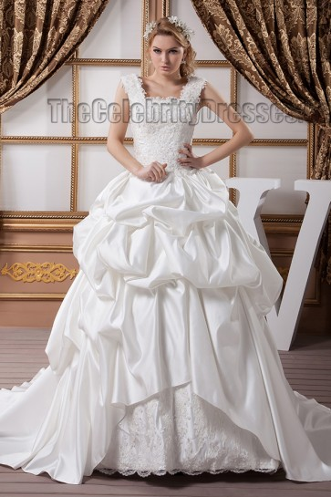 A-Line Square Neckline Beaded Embroidered Wedding Dresses