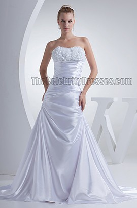 A-Line Stapless Silk Like Satin Chapel Train Wedding Dress
