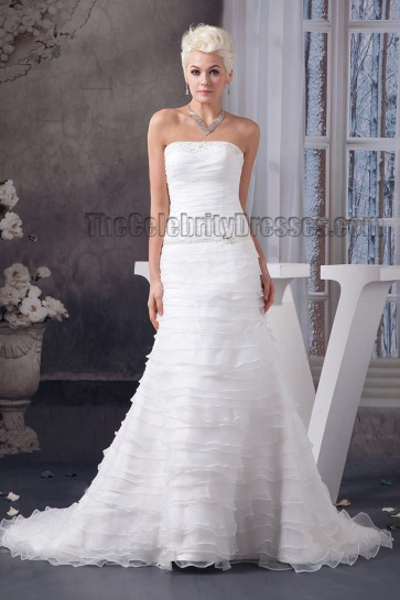 A-Line Strapless Beaded Chapel Train Wedding Dress