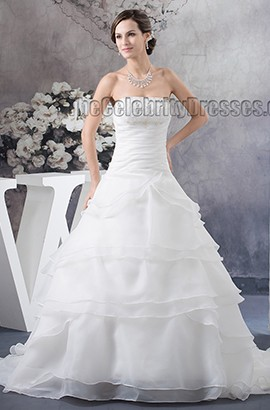 A-Line Strapless Beaded Chapel Train Wedding Dresses